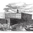 Stockholm Palace in Stadsholmen Sweden vintage engraving — Stock Vector #6762763