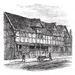Shakespeare's Birthplace at Stratford-upon-Avon, vintage engravi — Image vectorielle