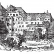 Stuttgart, the former palace, vintage engraving. — ベクター素材ストック
