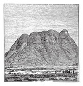 Mount Sinai or Mount Horeb in Sinai Peninsula Egypt vintage engr — Stock Vector