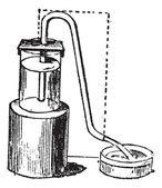 Sifonem nebo zařízením na visku vinobraní gravírování — Stock vektor