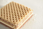 Square Waffle Filled with Chocolate — Stock Photo