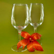Two glasses and orange flower — Stock Photo