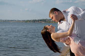 The loving couple dances — Stock Photo