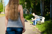 The man waits the woman — Stock Photo