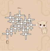 Labyrinth - Mouse, cheese and cat — Stock Vector
