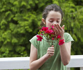 The smell of beautiful flowers — Stock Photo