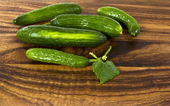 Cucumbers on Wood — Stock Photo