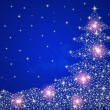 Christmas tree background with stars and lights — Stock Photo