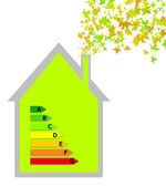 House with energy classification — Stock Photo