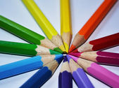 Colorful pencils in a circle — Stock Photo