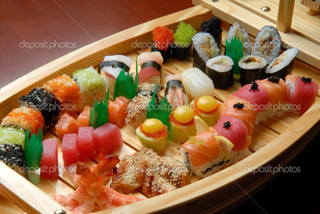 Assorted sushi Japanese food on the ship — Stock Photo #6161041