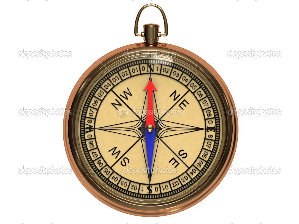 Vintage compass in the metal casing isolated on a white background. — Stock Photo #5636867