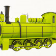 Green old steam train — Stock Photo