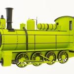 Green old steam train — Stock Photo