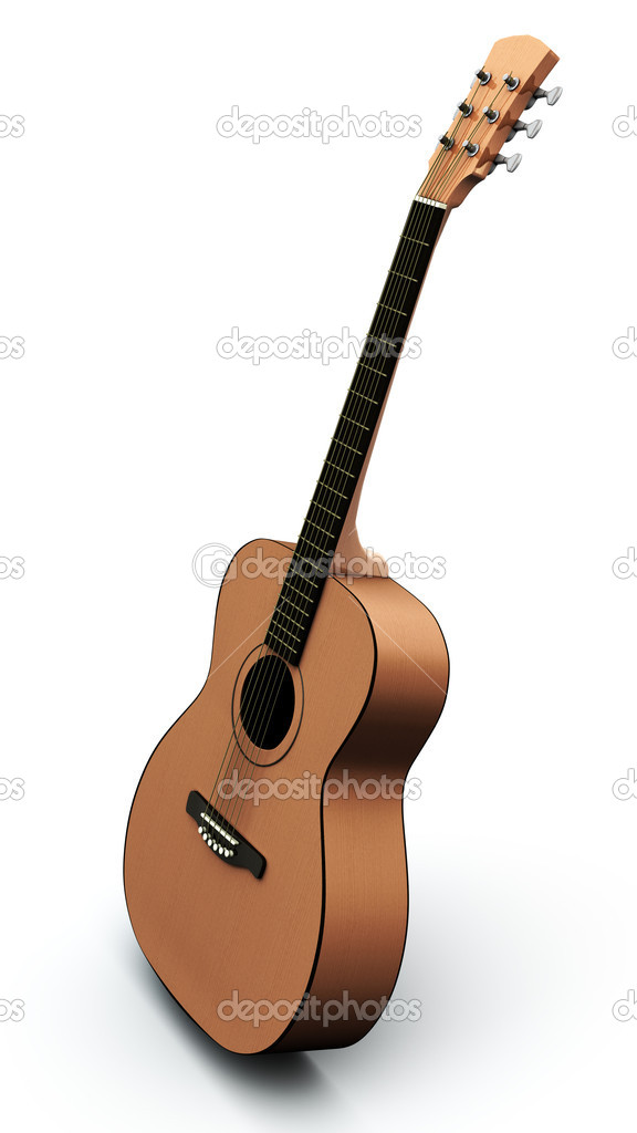 Acoustic guitar isolated on the white background — Stock Photo #5620879