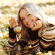Woman with golden apple — Stock Photo #6643011