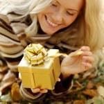 Woman take autumn gift — Stock Photo