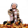 Autumn woman listening music — 图库照片