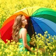 Woman under umbrella - Stock Photo
