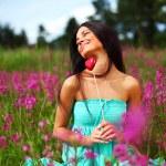 Woman on flower field — Stock Photo #6649989