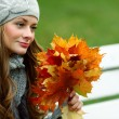 Stok fotoğraf: Woman portret in autumn leaf