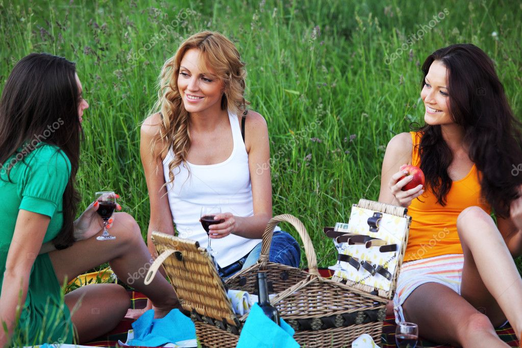 Very fun girlfriends on picnic   Stock Photo #6669052
