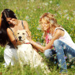 Royalty-Free Stock Photo: Girlfriends and dog