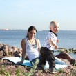 图库照片: Picnic near sea