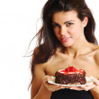 Woman and cake — Stock Photo