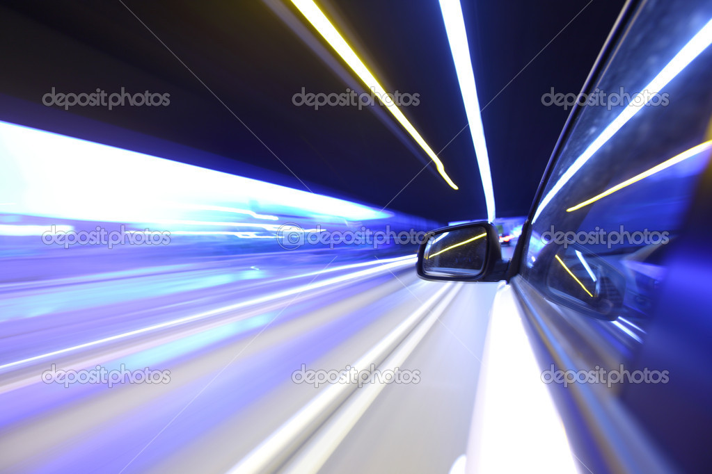Night drive on car  Stock Photo #6728105