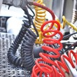Royalty-Free Stock Photo: Colorful Pneumatic hoses between the truck and trailer