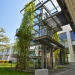 elevador de vidro moderna na rua, coberta de Hera — Foto Stock