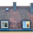 Tiled roof with windows — Stock Photo