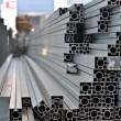 A stack of aluminum structural profiles - Stock Photo
