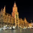 Neues Rathaus at night, Marienplatz, Munich, Germany — Stock Photo