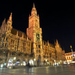 Stock Photo: Neues Rathaus at night, Marienplatz, Munich, Germany