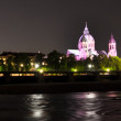 Stock Photo: Night view to Isar river and church behind it, Munich, Germany