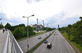 View from the bridge on the highway and the Olympic Stadium, Munich, German — Stock Photo