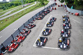 Racing karts in the parc fermé — Stock Photo
