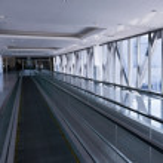 The empty escalator inside the contemporary building — Stock Photo
