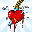 Heart pierced with a knife — Stock Vector