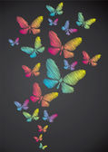 Butterflies drawn in chalk — 图库矢量图片