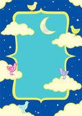 Illustration d'oiseaux dans les nuages — Vecteur