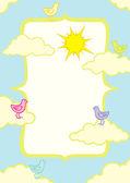 Ilustración de aves en las nubes — Vector de stock