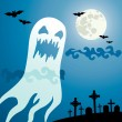 Stock Vector: Ghost in cemetery