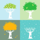 Four seasons and a tree — Stock Vector