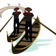 Gondoliers of Venice — Stock Vector
