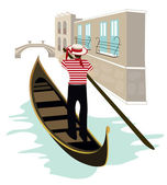 Gondolier of Venice — Stock Vector