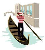 Gondolier of Venice — Stock Vector